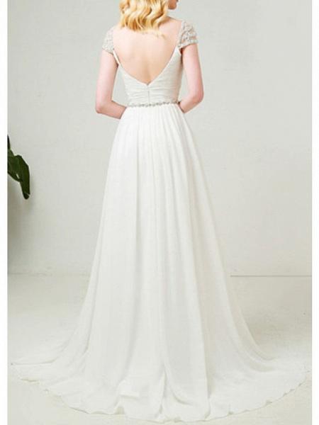 A-Line Wedding Dresses Sweetheart Neckline Sweep \ Brush Train Tulle Cap Sleeve Simple Backless_2