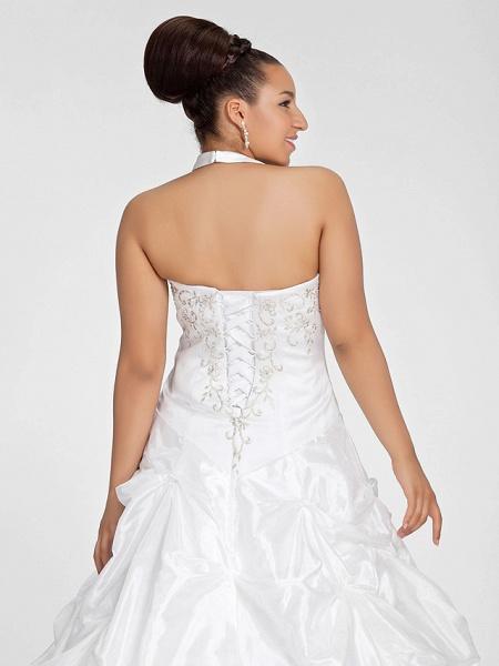 Ball Gown V Neck Court Train Taffeta Regular Straps Glamorous Vintage Plus Size Backless Wedding Dresses_6