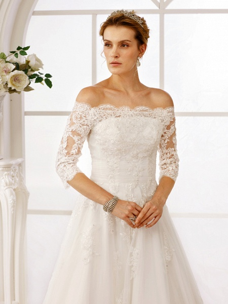A-Line Off Shoulder Floor Length Lace Tulle Lace Over Tulle 3\4 Length Sleeve Floral Lace Illusion Sleeve Wedding Dresses_6