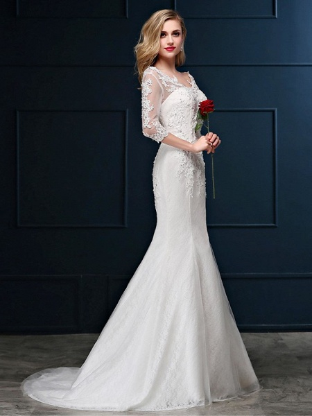 Mermaid \ Trumpet Wedding Dresses V Neck Sweep \ Brush Train Lace Over Tulle 3\4 Length Sleeve Romantic Glamorous Sparkle & Shine Backless Illusion Sleeve_7
