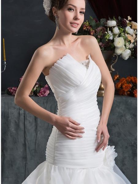Mermaid \ Trumpet Strapless Court Train Organza Satin Strapless Plus Size Wedding Dresses_5