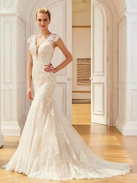 Mermaid \ Trumpet V Neck Sweep \ Brush Train Lace Regular Straps Country Wedding Dresses_1