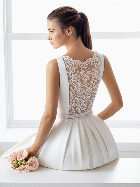 Ball Gown Wedding Dresses Bateau Neck Court Train Lace Polyester Regular Straps Elegant_4