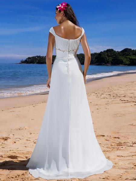 Sheath \ Column Wedding Dresses Scoop Neck Sweep \ Brush Train Chiffon Cap Sleeve Beach Plus Size_4