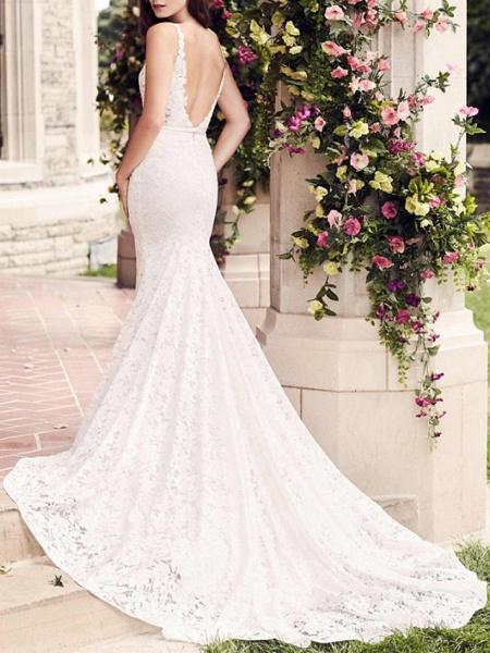 Mermaid \ Trumpet Wedding Dresses V Neck Court Train Lace Regular Straps_3