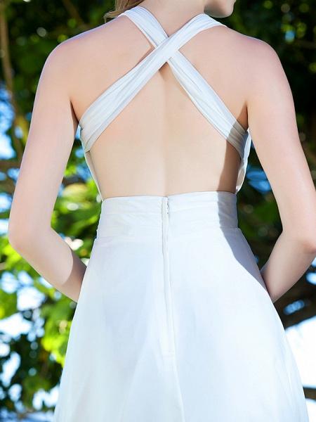 Sheath \ Column Wedding Dresses Straps Sweep \ Brush Train Chiffon Sleeveless_8