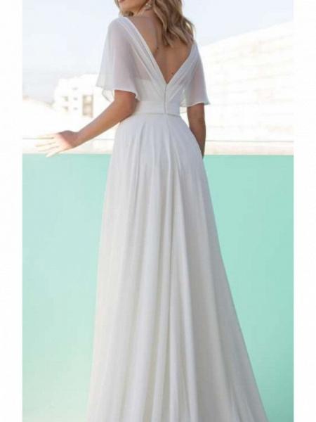 A-Line Wedding Dresses Scoop Neck Floor Length Chiffon Charmeuse Short Sleeve_2