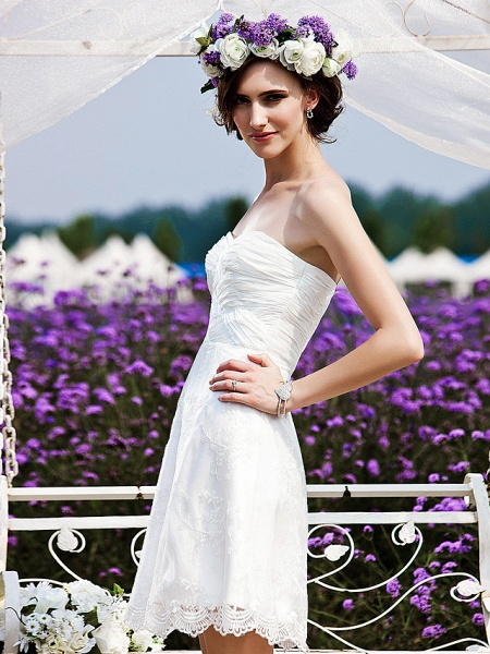 Princess A-Line Wedding Dresses Strapless Short \ Mini Chiffon Lace Sleeveless Little White Dress_4