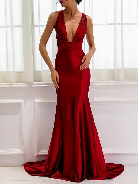 Sheath \ Column Wedding Dresses V Neck Sweep \ Brush Train Satin Regular Straps Romantic Plus Size Red_1