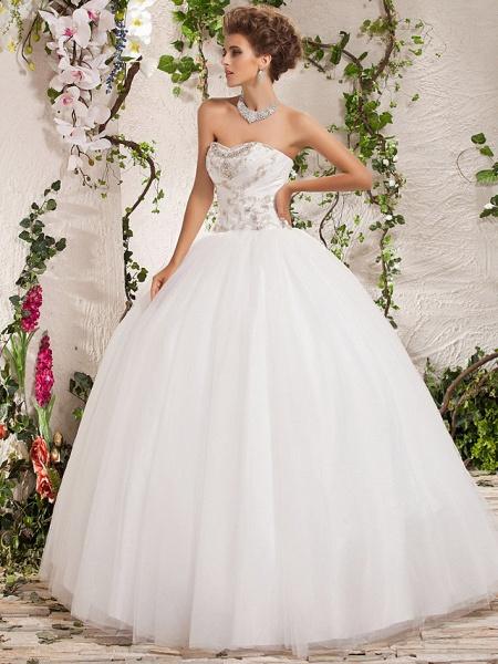 Ball Gown Strapless Sweetheart Neckline Floor Length Tulle Sleeveless Sparkle & Shine Wedding Dresses_3