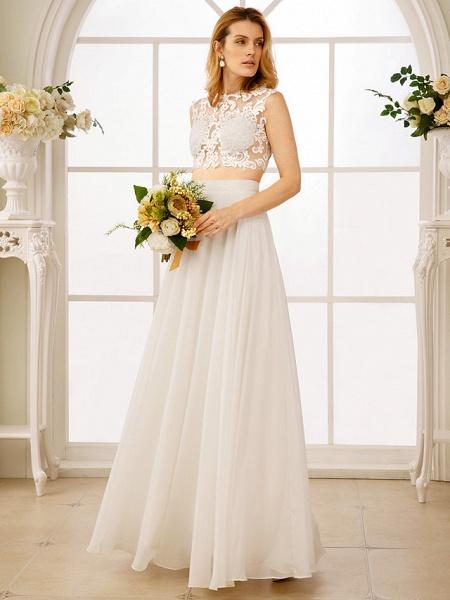 Princess Two Piece Wedding Dresses Jewel Neck Floor Length Chiffon Sleeveless See-Through Beautiful Back Crop Top_1
