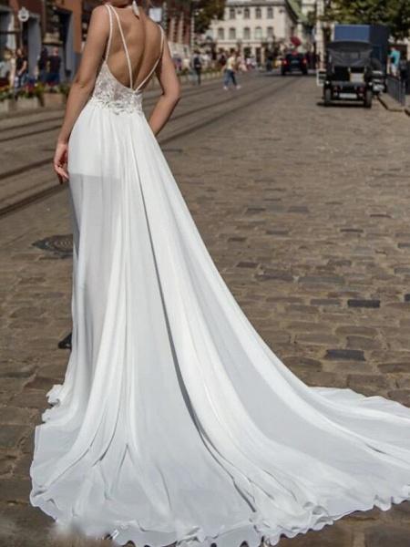 A-Line Wedding Dresses V Neck Court Train Chiffon Lace Sleeveless Beach Sexy See-Through_2