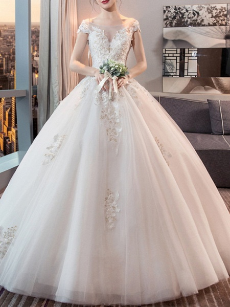 Ball Gown Wedding Dresses Jewel Neck Floor Length Lace Tulle Sleeveless Formal Plus Size_1