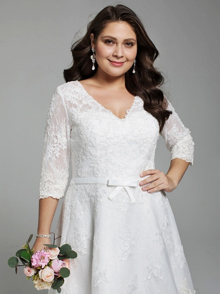 A-Line Wedding Dresses V Neck Knee Length All Over Lace 3\4 Length Sleeve Casual Vintage See-Through Illusion Detail Backless_5