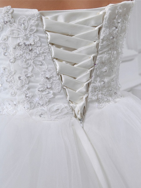 A-Line Sweetheart Neckline Chapel Train Lace Satin Tulle Strapless Wedding Dresses_5