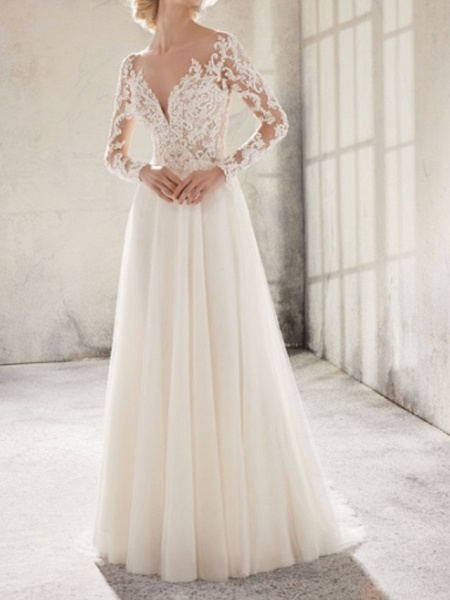 A-Line Wedding Dresses Jewel Neck Sweep \ Brush Train Lace Tulle Long Sleeve Country Plus Size_1