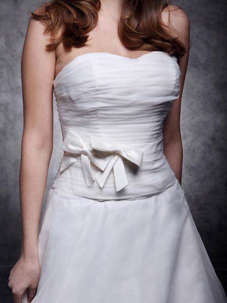 Princess A-Line Wedding Dresses Strapless Sweetheart Neckline Court Train Organza Satin Sleeveless_3