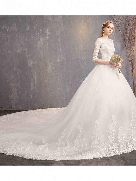 Ball Gown Wedding Dresses Jewel Neck Chapel Train Tulle Lace Over Satin Half Sleeve Illusion Sleeve_2