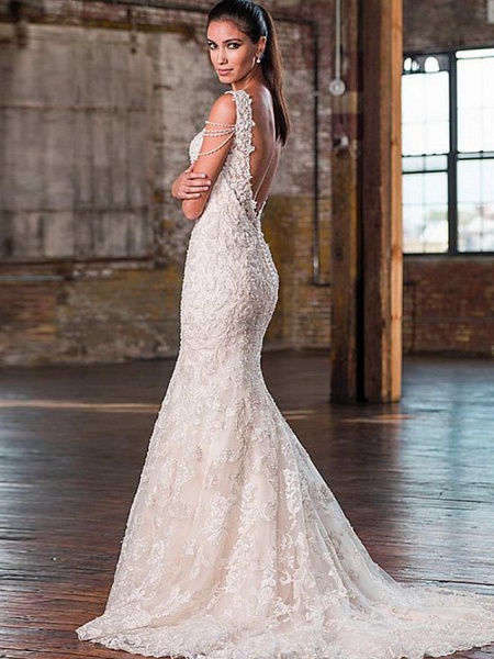 Mermaid \ Trumpet V Neck Court Train Lace Tulle Lace Over Satin Spaghetti Strap Plus Size Wedding Dresses_2