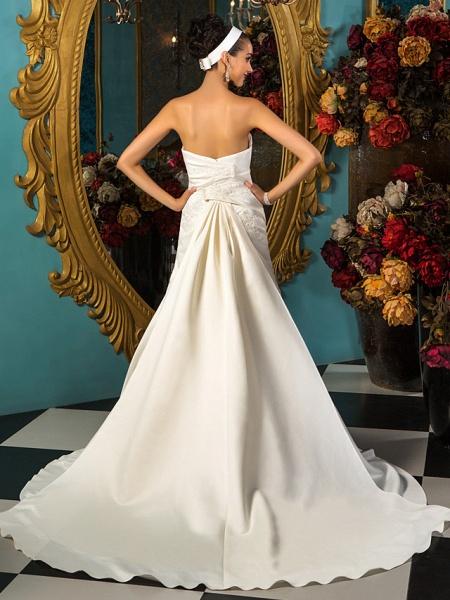 A-Line Wedding Dresses Strapless Court Train Satin Sleeveless_4