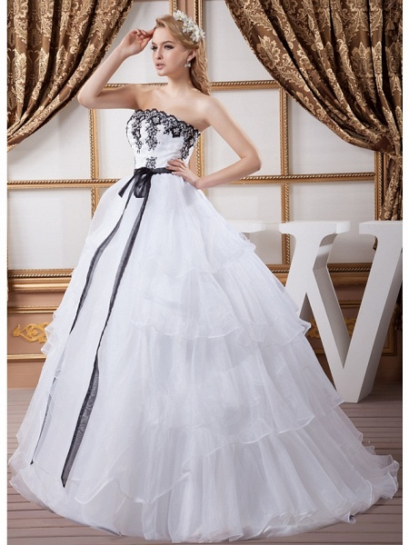 Ball Gown Strapless Court Train Lace Organza Satin Strapless Wedding Dress in Color Wedding Dresses_3