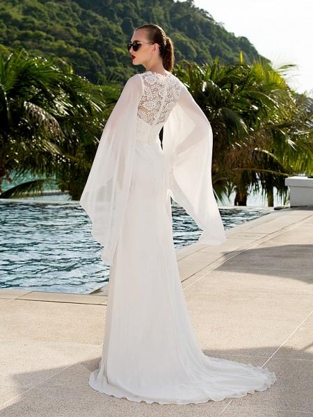 Sheath \ Column Wedding Dresses Jewel Neck Sweep \ Brush Train Lace Georgette Long Sleeve Beach Illusion Detail Backless_3