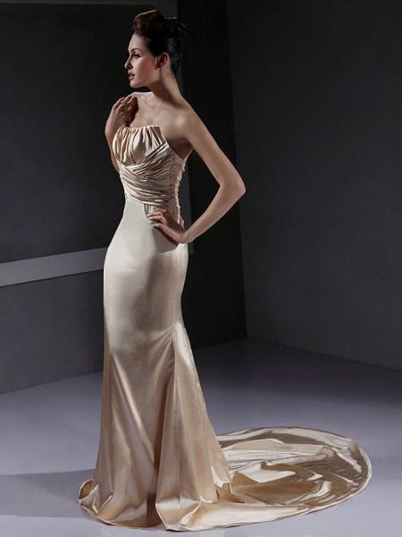 Mermaid \ Trumpet Wedding Dresses Strapless Court Train Stretch Satin Sleeveless Wedding Dress in Color_3