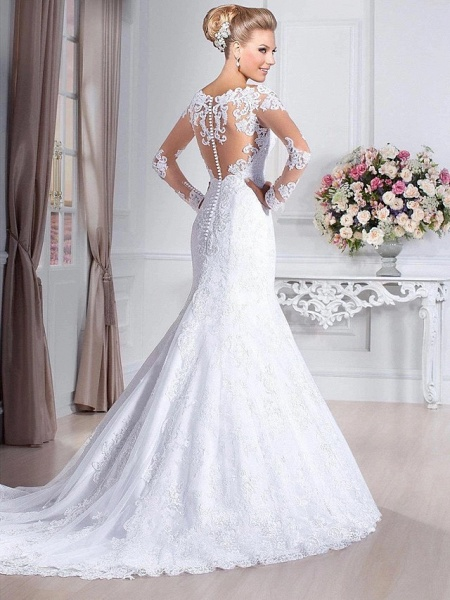 Mermaid \ Trumpet Wedding Dresses Sweetheart Neckline Court Train Lace Tulle Lace Over Satin Long Sleeve Sexy Backless Illusion Sleeve_3