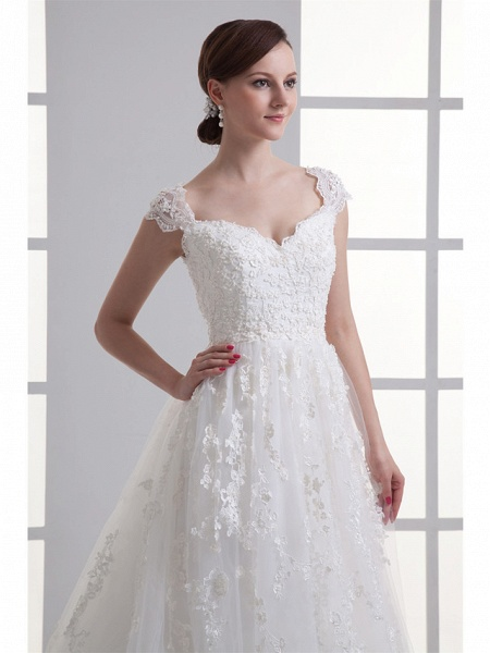A-Line Sweetheart Neckline Court Train Lace Satin Tulle Cap Sleeve Wedding Dresses_4