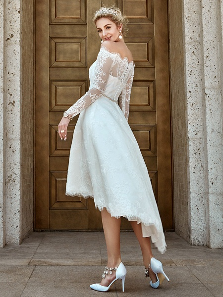 A-Line Wedding Dresses Off Shoulder Asymmetrical Lace Long Sleeve Casual Plus Size Illusion Sleeve_8