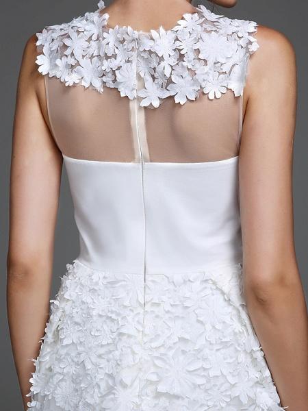 Sheath \ Column Wedding Dresses Jewel Neck Short \ Mini Chiffon Regular Straps Romantic Casual See-Through Plus Size Backless_8