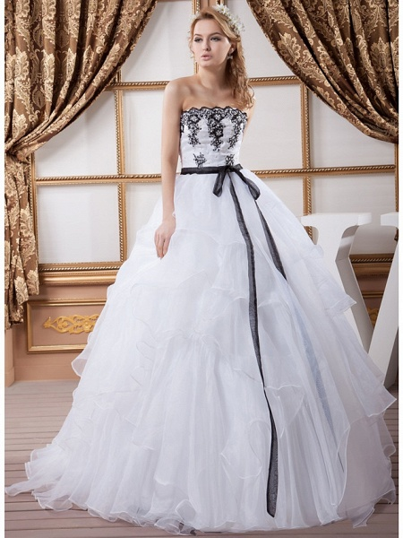Ball Gown Strapless Court Train Lace Organza Satin Strapless Wedding Dress in Color Wedding Dresses_1
