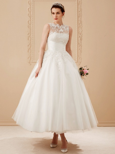 A-Line Wedding Dresses High Neck Ankle Length Lace Over Tulle Regular Straps Vintage Little White Dress Illusion Detail_12