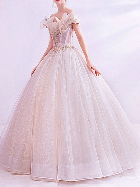 Ball Gown Wedding Dresses Off Shoulder Sweep \ Brush Train Chiffon Tulle Short Sleeve Country Illusion Detail Plus Size_2