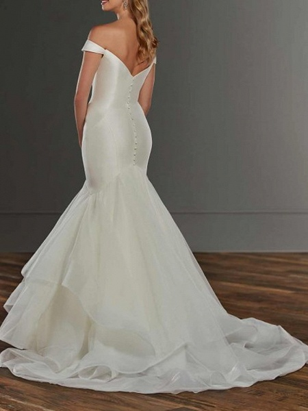 Mermaid \ Trumpet Wedding Dresses Off Shoulder Sweep \ Brush Train Satin Tulle Short Sleeve Country Plus Size_2