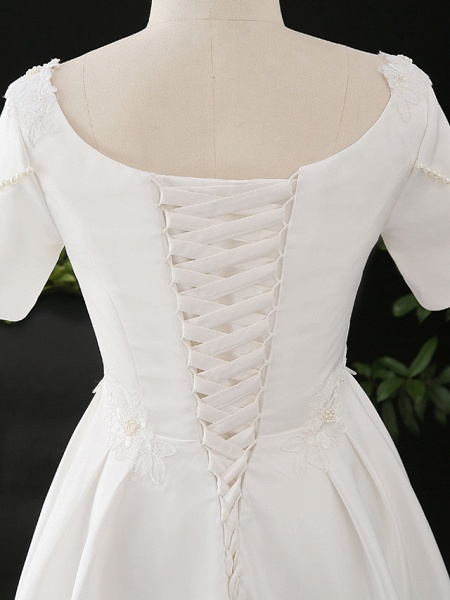 A-Line Wedding Dresses Scoop Neck Floor Length Satin Half Sleeve Formal Elegant_5