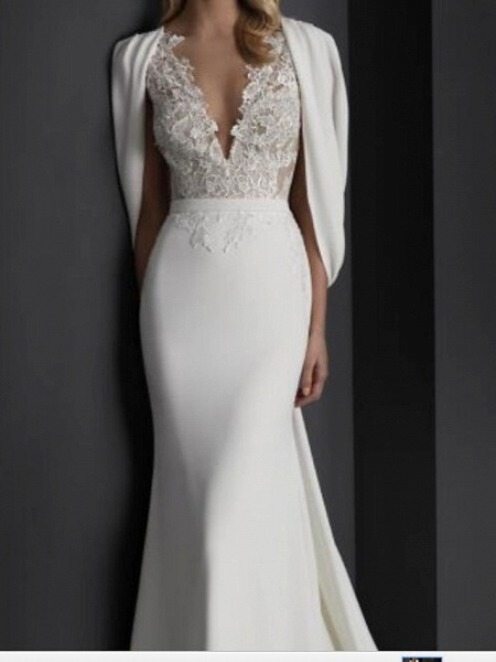 Mermaid \ Trumpet Wedding Dresses V Neck Sweep \ Brush Train Stretch Satin Sleeveless Country Plus Size_3