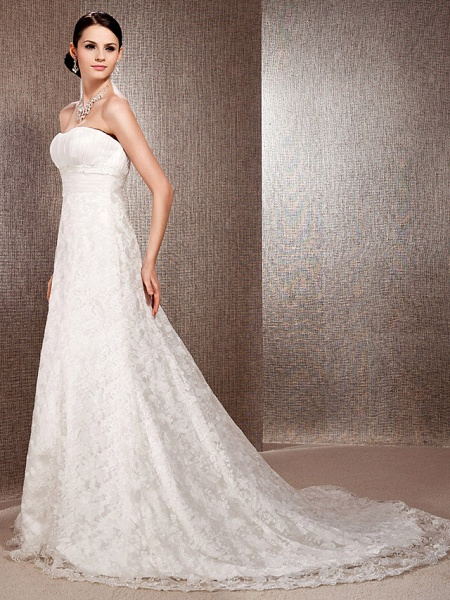 Princess A-Line Wedding Dresses Sweetheart Neckline Court Train Lace Sleeveless Floral Lace_3