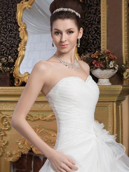 A-Line Sweetheart Neckline Court Train Organza Satin Strapless Wedding Dresses_4