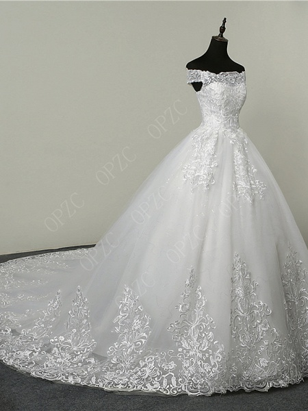 Ball Gown Wedding Dresses Off Shoulder Court Train Tulle Sequined Short Sleeve Glamorous Illusion Detail_3
