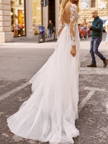 A-Line Wedding Dresses V Neck Floor Length Lace Tulle Long Sleeve Beach Boho Sexy See-Through_2