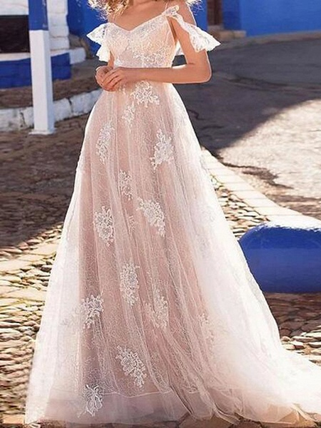 A-Line Wedding Dresses Spaghetti Strap Floor Length Lace Tulle Short Sleeve Beach Sexy See-Through_1