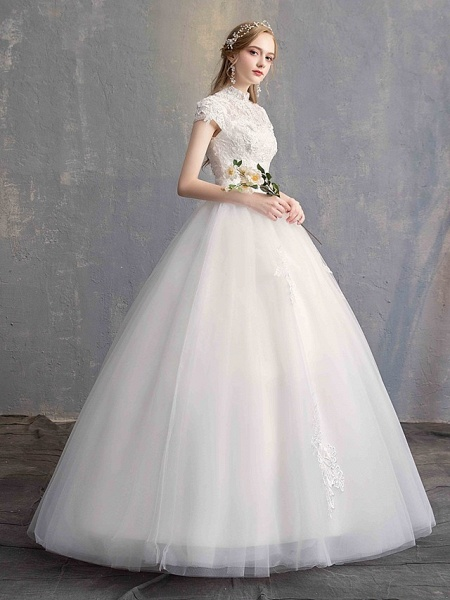 Ball Gown Wedding Dresses High Neck Floor Length Lace Tulle Lace Over Satin Short Sleeve Vintage Illusion Sleeve_5
