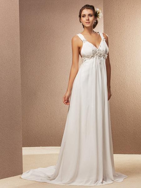 Sheath \ Column Wedding Dresses V Neck Court Train Chiffon Sleeveless See-Through_5