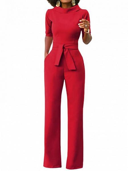 Women's Wide Leg Daily \ Weekend Turtleneck Wine White Black Wide Leg Slim Jumpsuit_2