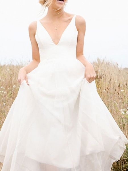 A-Line Wedding Dresses V Neck Floor Length Chiffon Sleeveless Simple_3