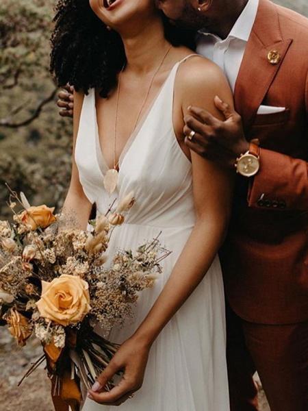 A-Line Wedding Dresses V Neck Sweep \ Brush Train Polyester Spaghetti Strap Formal Plus Size_2