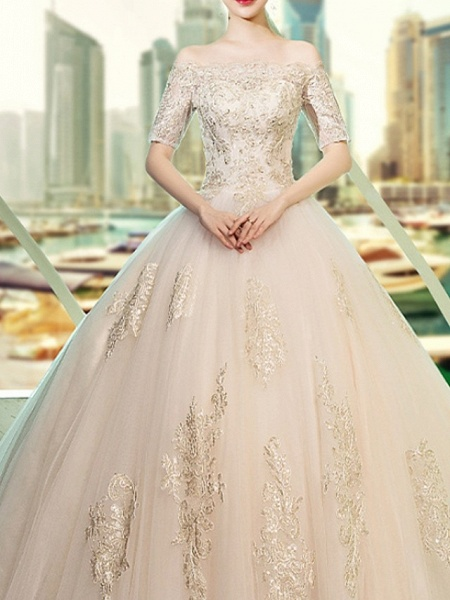 Ball Gown Wedding Dresses Off Shoulder Sweep \ Brush Train Lace Short Sleeve Beach_3