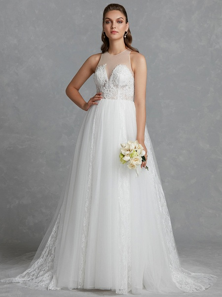 A-Line Wedding Dresses Jewel Neck Court Train Lace Tulle Regular Straps Glamorous See-Through Backless_4
