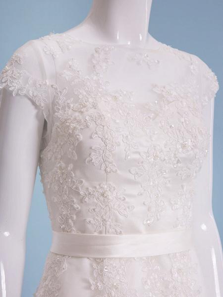 A-Line Wedding Dresses Bateau Neck Tea Length Organza Cap Sleeve Simple Casual Illusion Detail_5